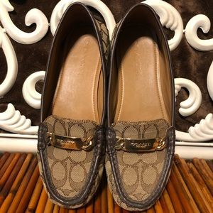 Coach Olive Brown Monogram Logo Loafers shoes 8B